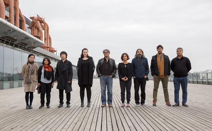 11th Shanghai Biennale Chief Curators, Raqs Media Collective with Curatorial Collegiate and Exhibition Architects. (L-R): Chen Yun, Rupali Gupte, Liu Tian, Tess Maunder, Shuddhabrata Sengupta, Monica Narula, Jeebesh Bagchi, Sabih Ahmed and Prasad Shetty.
