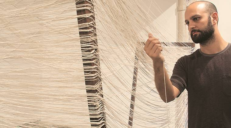 Andrew Voogel with Handloom I and II; Photo courtesy: Prakash Rao the artist and Project 88, Mumbai